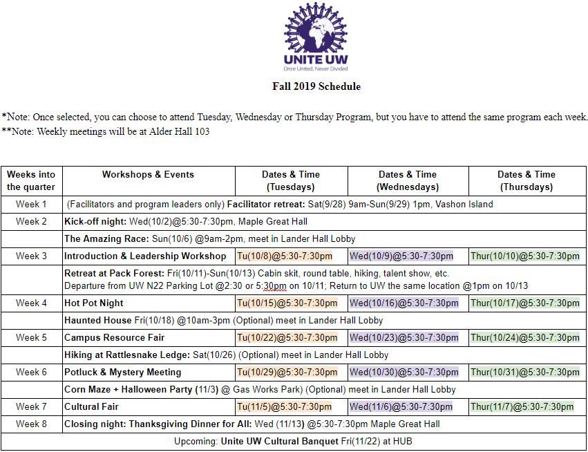Schedule Fall 2019